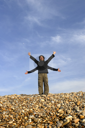 Happy stock photo, Two men with arms wide open at the beach by Rui Vale de Sousa