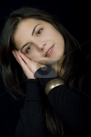 Sleep stock photo, Young beautiful brunette portrait against black background by Rui Vale de Sousa