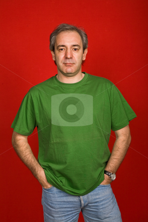 Casual stock photo, Mature casual man on a red background by Rui Vale de Sousa