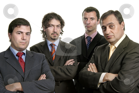 Team stock photo, Four young business men portrait on white by Rui Vale de Sousa