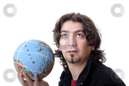 Globe stock photo, Young man with globe isolated in white background by Rui Vale de Sousa