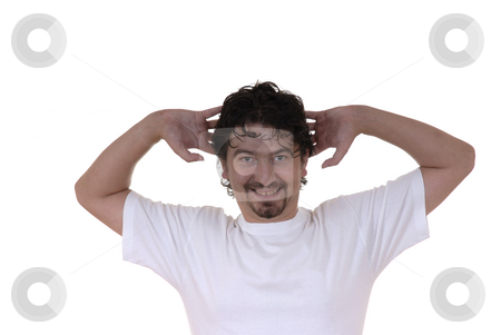 Party stock photo, Happy young man with hands in the head by Rui Vale de Sousa