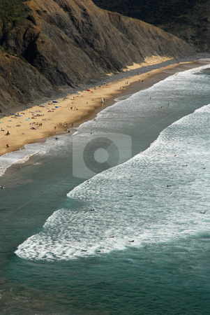 Beach stock photo, Beach, surfers from above, in the south of portugal by Rui Vale de Sousa