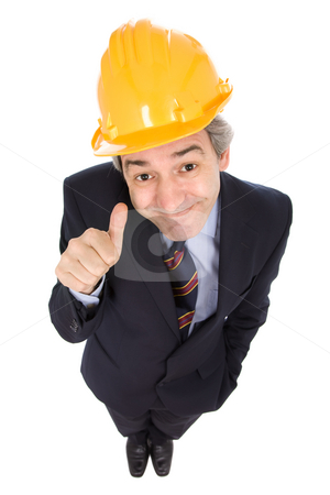 Thumb up stock photo, An engineer with yellow hat, isolated on white by Rui Vale de Sousa
