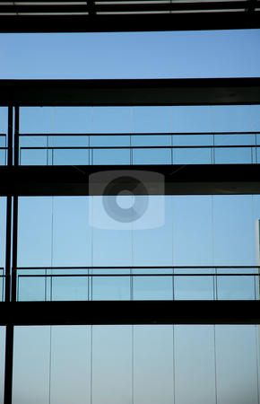 Blue stock photo, Modern building from inside with the sky as background by Rui Vale de Sousa