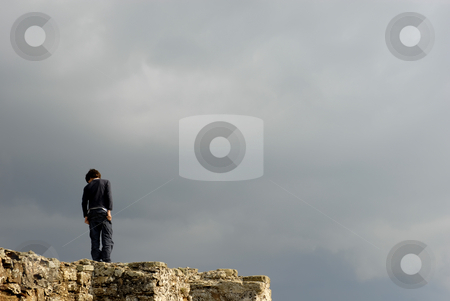 Top stock photo, Young boy in the top of the wall by Rui Vale de Sousa