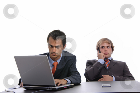 Workers stock photo, Two young business man working with laptop by Rui Vale de Sousa