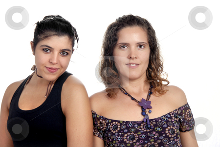 Girls stock photo, Two young casual women isolated on white by Rui Vale de Sousa