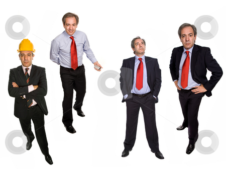 Positions stock photo, Mature businessman in different positions, isolated on white by Rui Vale de Sousa