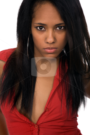 Girl stock photo, Young beautiful woman closeup portrait, isolated on white by Rui Vale de Sousa