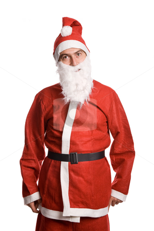Santa stock photo, Silly santa claus isolated on white background by Rui Vale de Sousa