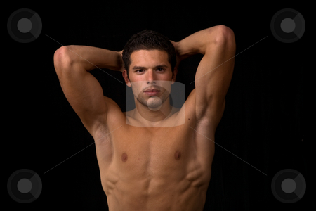 Muscular stock photo, Young sensual man on a black backgroung by Rui Vale de Sousa