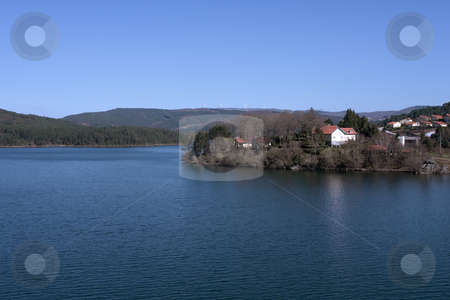 Lake houses stock photo, Houses at the lake in the north of portugal by Rui Vale de Sousa