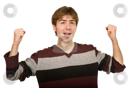 Happy stock photo, Happy young man with arms isolated on white by Rui Vale de Sousa