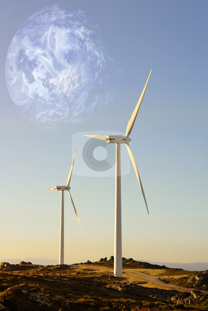 Turbines stock photo, White wind turbine in the top of the mountain by Rui Vale de Sousa