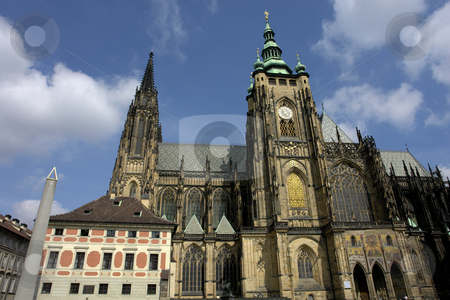 Cathedral stock photo, Cathedral of St Vitas from square.Prague, Czech Republic by Rui Vale de Sousa