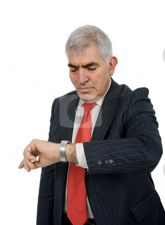 Time stock photo, Mature business man portrait in white background by Rui Vale de Sousa