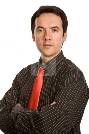 Looking stock photo, Young business man portrait in white background by Rui Vale de Sousa