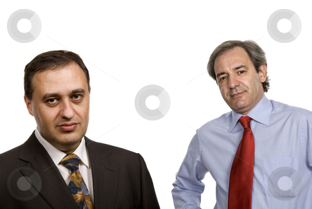 Businessmen stock photo, Two businessman isolated on white, focus on the left man by Rui Vale de Sousa