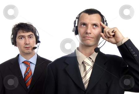 Call center stock photo, Two young call center men talking by the phone by Rui Vale de Sousa