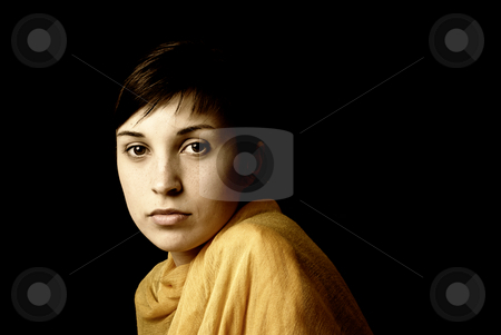 Casual stock photo, Young woman posing in black background in sepia tone by Rui Vale de Sousa
