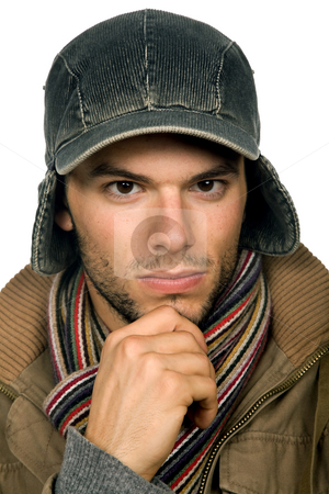 Portrait stock photo, Studio picture of a young man dressed for winter by Rui Vale de Sousa