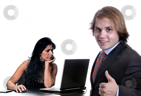 Boss stock photo, Boss with a woman working, focus on the right man by Rui Vale de Sousa