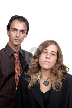 Couple stock photo, Young couple together portrait isolated on white, focus on the woman by Rui Vale de Sousa