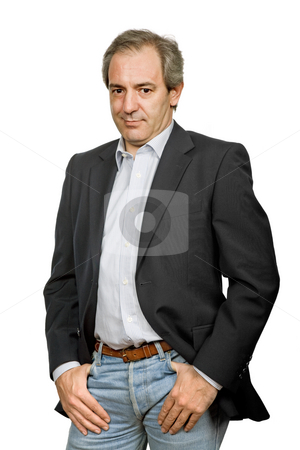 Casual stock photo, Mature casual man portrait in white background by Rui Vale de Sousa