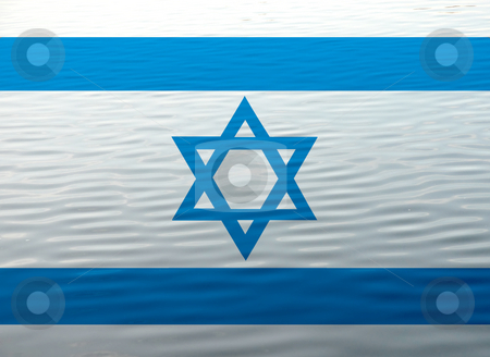 Israel flag stock photo, Israel flag illustration in the water, computer generated by Rui Vale de Sousa
