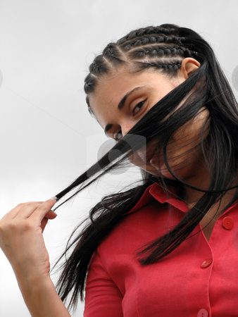 Woman stock photo, Young woman covering face with her hair by Rui Vale de Sousa