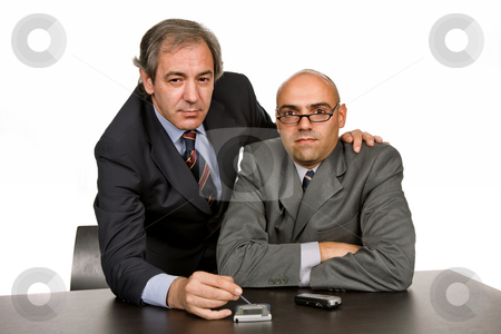 Working stock photo, Business team working in a desk, isolated on white by Rui Vale de Sousa