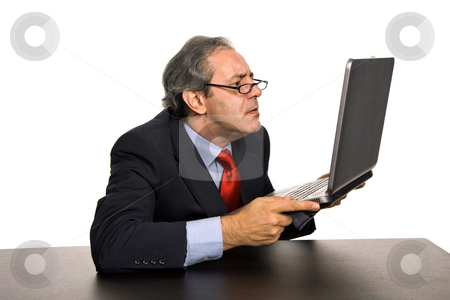 Crazy stock photo, Mature business man working with his laptop by Rui Vale de Sousa