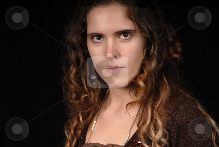 Portrait stock photo, Young woman portrait posing in black background by Rui Vale de Sousa