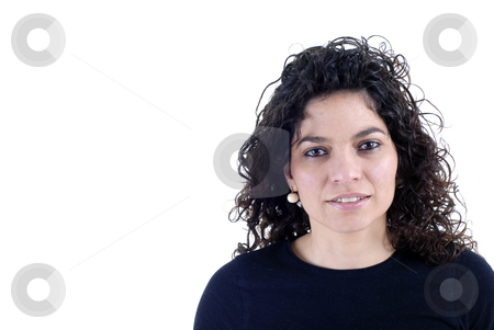 Casual stock photo, Young woman close up portrait in white background by Rui Vale de Sousa