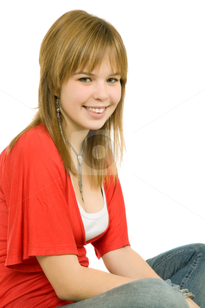 Happy stock photo, Young casual blonde woman close up portrait by Rui Vale de Sousa