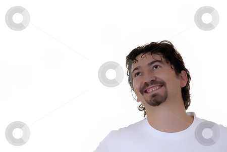 Silly stock photo, Young casual crazy man in a white background by Rui Vale de Sousa