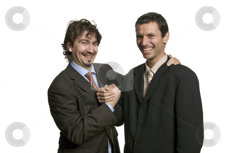 Shake stock photo, Businessmen shaking hands - isolated over a white background by Rui Vale de Sousa