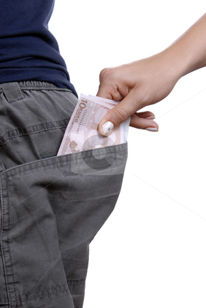 Money stock photo, Detail of a woman hand taking off money from a pocket by Rui Vale de Sousa