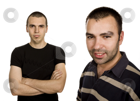 Casual stock photo, Two young casual men portrait, isolated on white by Rui Vale de Sousa