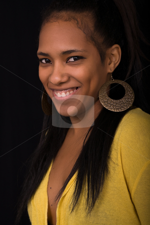 Happy stock photo, Young beautiful woman close up portrait, on black background by Rui Vale de Sousa