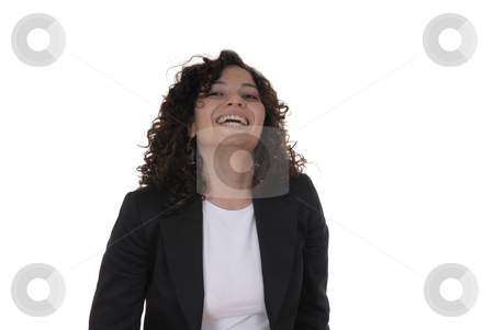 Happy stock photo, Happy caucasian young woman in a white background by Rui Vale de Sousa