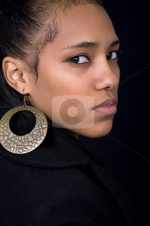 Close up stock photo, Young beautiful woman close up portrait, on black background by Rui Vale de Sousa