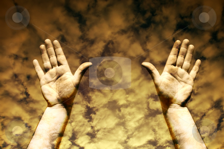 Signs stock photo, Human hands in the sky toned sepia by Rui Vale de Sousa