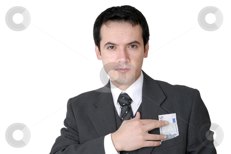 Money stock photo, Business man with cash isolated on white by Rui Vale de Sousa