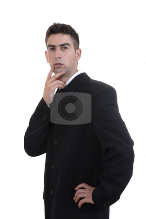 Stand stock photo, Young business man alone thinking in white background by Rui Vale de Sousa