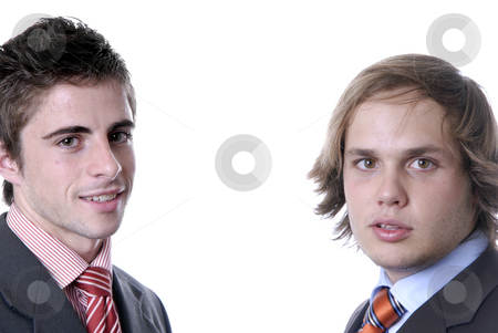 Young stock photo, Two young business men portrait on white. by Rui Vale de Sousa