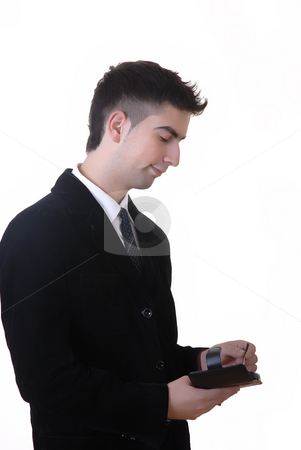 Working stock photo, Young man with pda in a white background by Rui Vale de Sousa