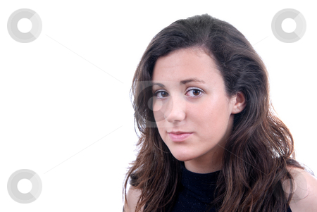 Teen stock photo, Young woman portrait isolated on white background by Rui Vale de Sousa