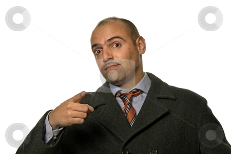 Pointing stock photo, Businessman in a suit gestures with his finger by Rui Vale de Sousa